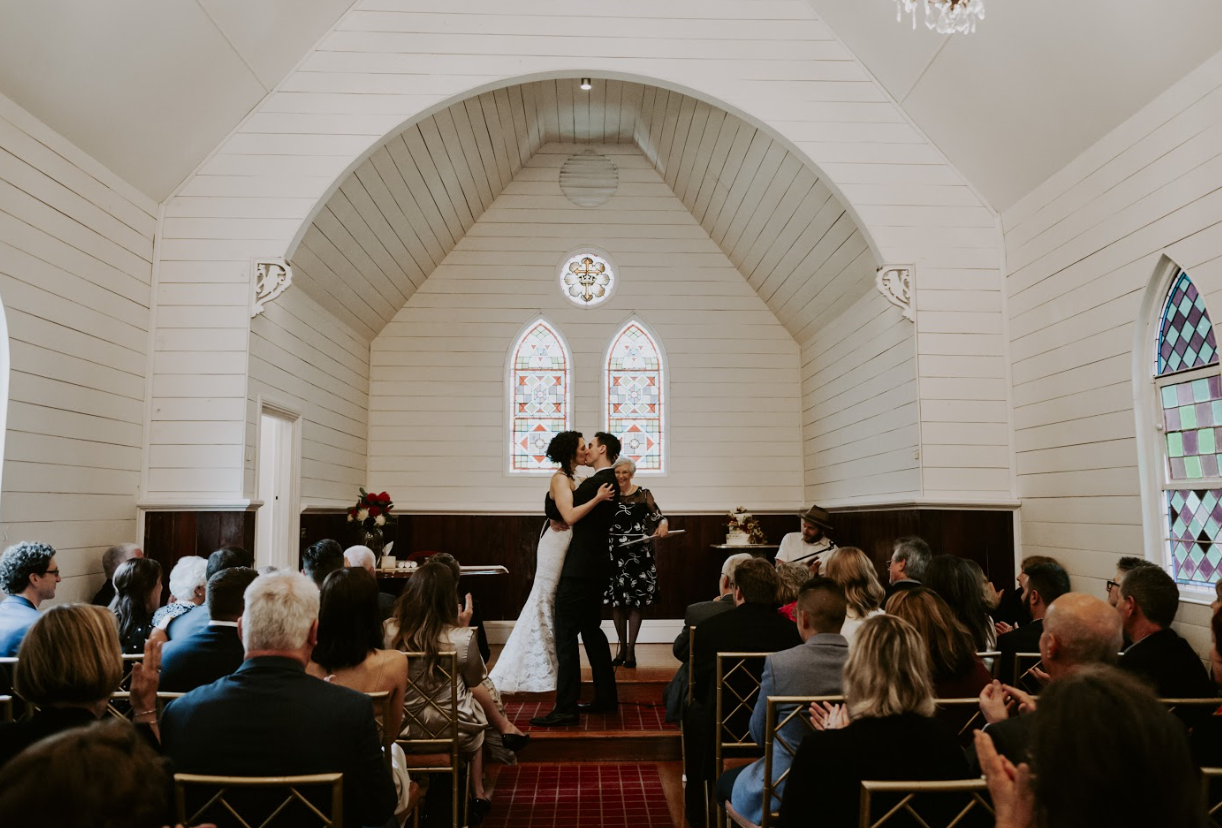 Wedding ceremony inside Byron Bay chapel