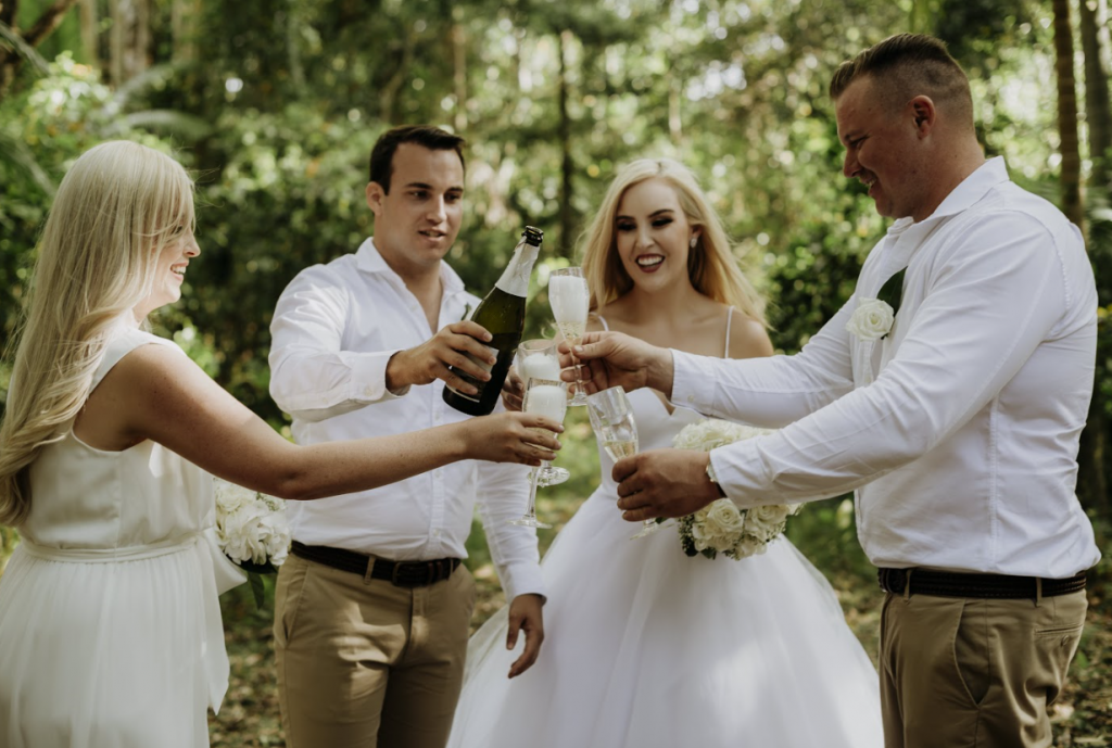 Newly weds celebrate their marriage in the rainforest